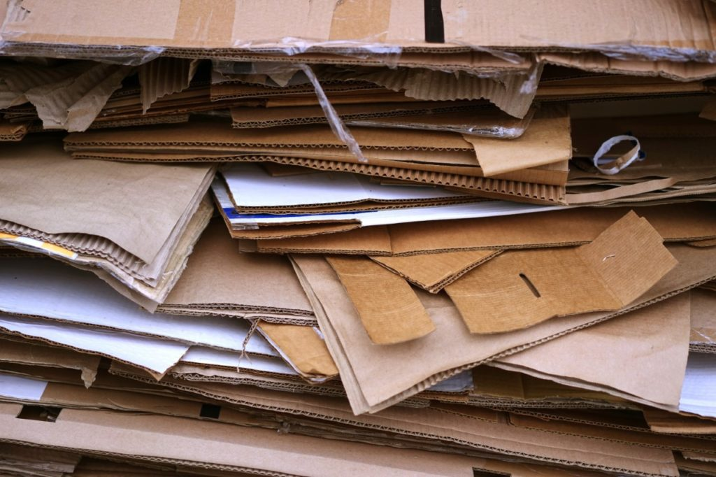 pile of discarded used cardboard